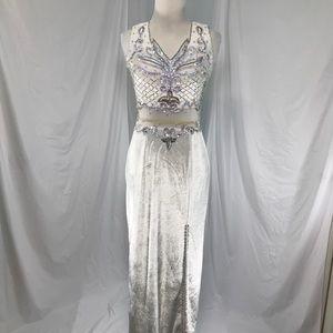 Dresses & Skirts - Simple white velour wedding dress w/ slit size S